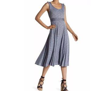 Max Studio Midi Dress Piped Waist Mini Stripe NEW